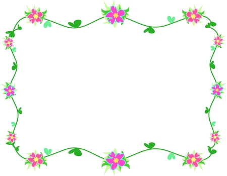 rectangle: Frame of Hibiscus Flowers, Vines, and Heart Leaves Illustration