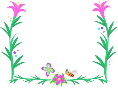 Frame of Green Stalks, Flowers, Bees and Butterfly