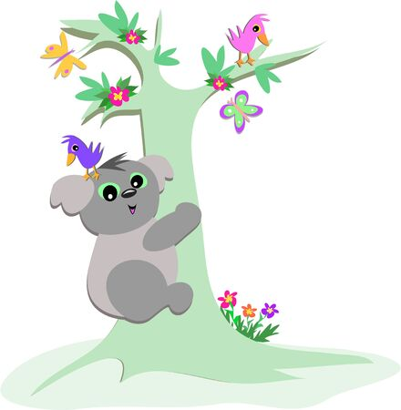Koala Bear Tree with Birds and Butterflies Illustration