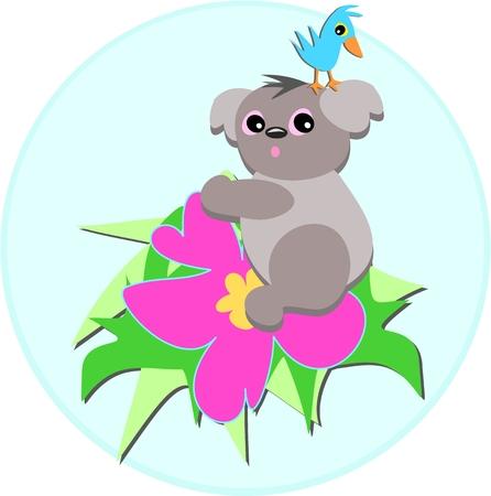 Koala Bear and Bird on a Hibiscus Flower
