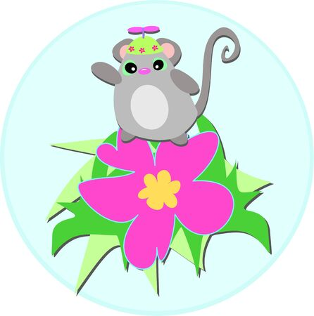 spinner: Cute Mouse with Spinner Hat on Hibiscus Flower