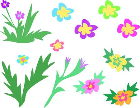 Mix Page of Flowers and Stalks