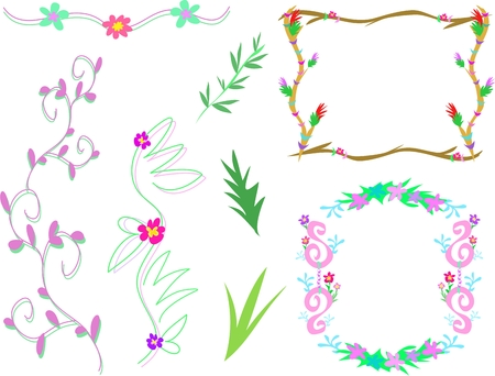Mix of Floral Frames and Designs Vector