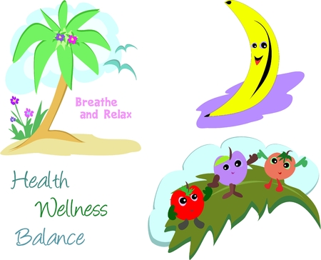 Mix of Health and Wellness Images Vector