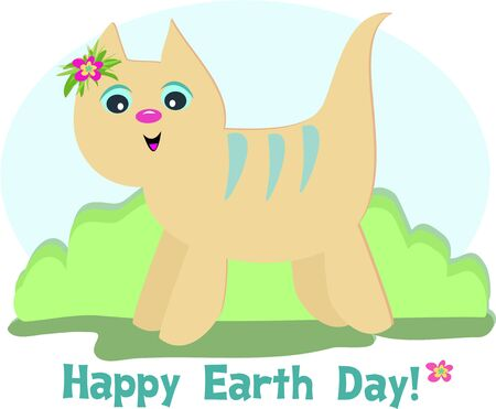 earth day: Happy Earth Day Cat  Illustration