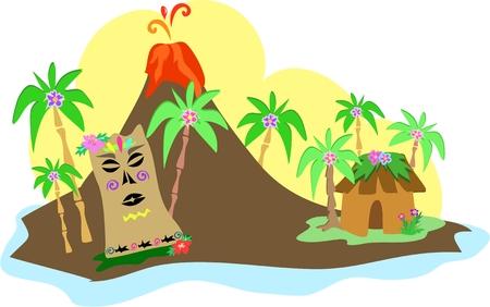 Tiki Island met Volcano