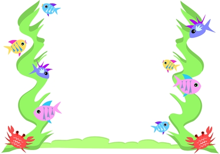 Frame of Fish, Crab, and Seaweed Vector