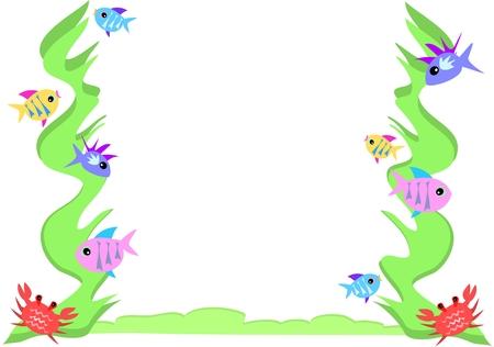 tail fin: Marco de pescado, cangrejo y algas
