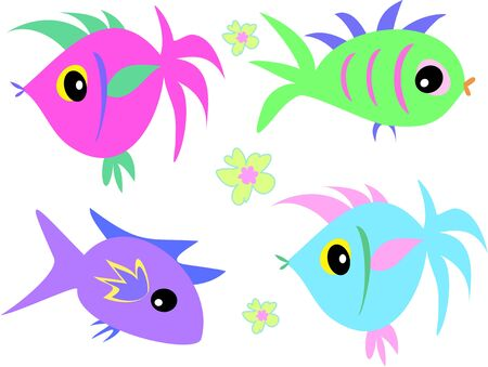 Mix Page of Cute Fish and Flowers Stock Vector - 4904397