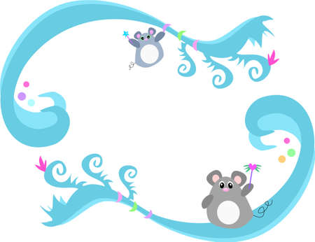 Frame of Blue Swirls, Mice, and Bubbles Ilustracja