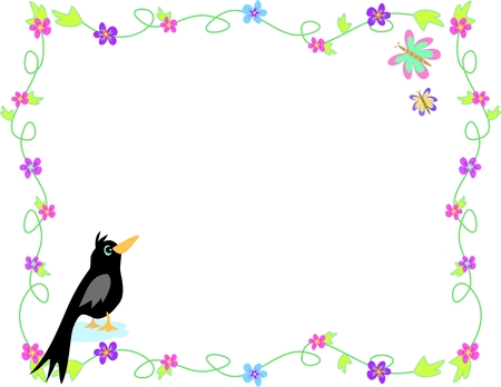 Frame of Flowers, Black Bird and Butterflies Stock Illustratie