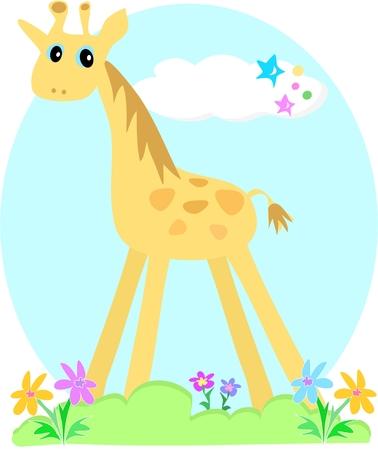 Giraffe Garden Vector
