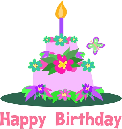 Happy Birthday Tiered Tropical Cake