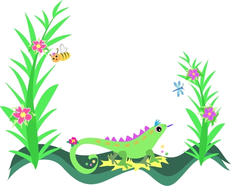 Frame of Lizard, Plants and Flowers Stock Vector - 4904473