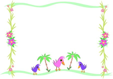 Frame of Birds and Tropical Palms and Plants Vector