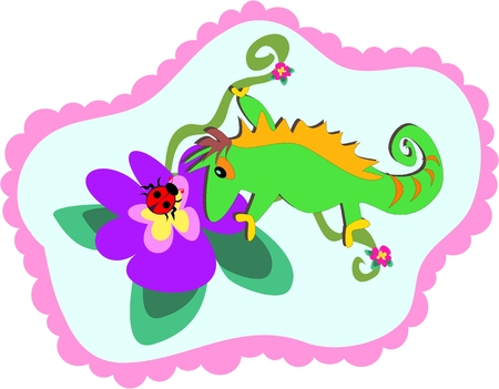 Chameleon and Flower Frame