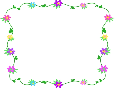 Frame of Clovers and Flowers Illustration