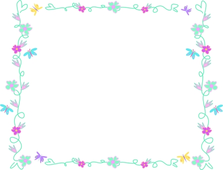 Frame of Delicate Flowers and Butterflies