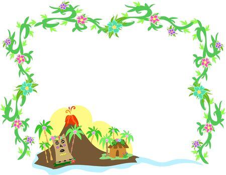 ausbrechen: Rahmen der polynesischen Tiki und Vulkan