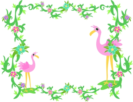 flamingi: Ram Flamingos tropikalnego i Roślin Ilustracja