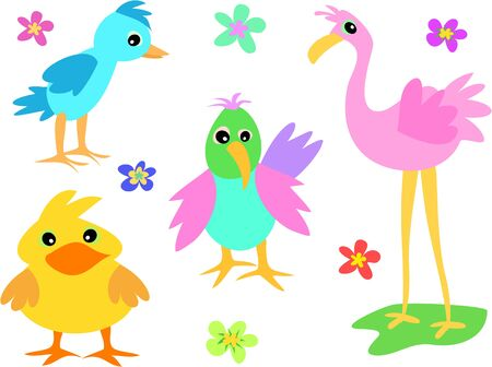 Mix Page of Colorful Birds and Flowers Ilustrace