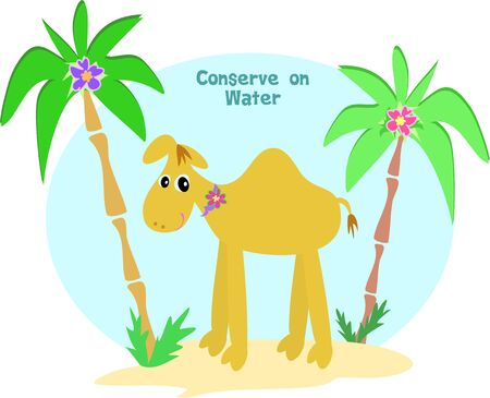 Conserve on Water Camel Vector