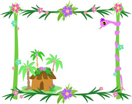 Frame of Tropical Plants, Snake, and Hut Vector