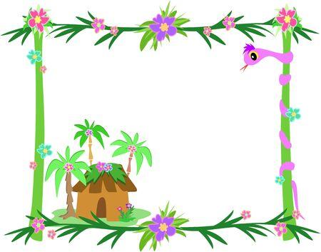Frame of Tropical Plants, Snake, and Hut Illustration