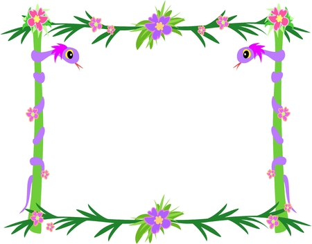 Frame of Tropical Snakes, Poles, and Flowers Illustration