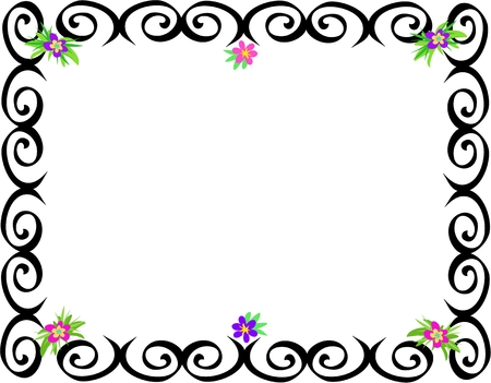 Frame of Black Spirals and Flowers