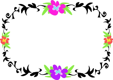 Frame of Tattoo Style Plants and Flowers