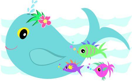 クジラの魚のお友達とスプラッシュ  イラスト・ベクター素材