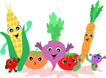 corn stalk: Group of Vegetable Friends Illustration