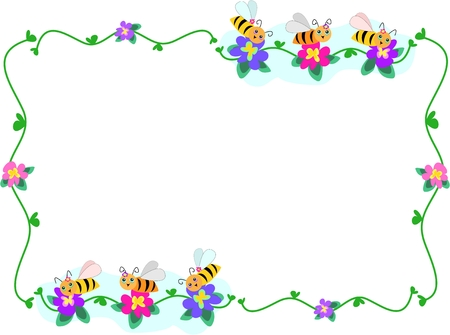 bee on flower: Frame of Bee Trios and Flowers Illustration