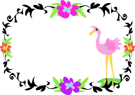 pink flamingo: Tattoo Style Frame with Flamingo Illustration