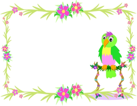 Frame of Tropical Plants and Parrot on a Perch Stock Vector - 4958857