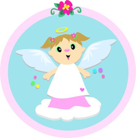 Angel Girl Circle Vector
