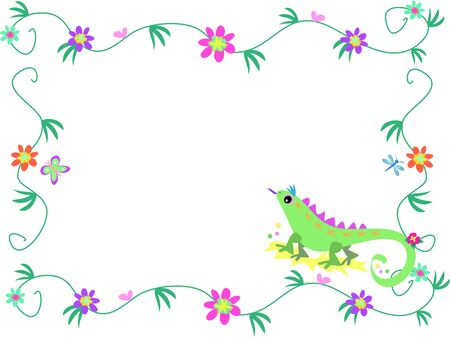 Floral Frame with Lizard, Butterfly, and Dragonfly Vector