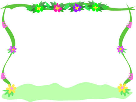 Frame of Flowers, Ribbons, and Bush