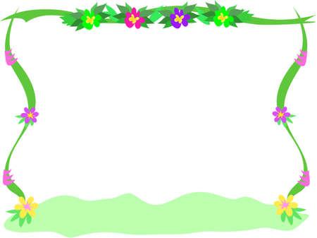 Frame van bloemen, linten en Bush Stockfoto - 4970518