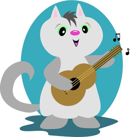Guitar Cat Stock Illustratie