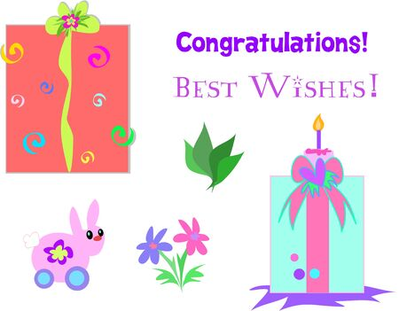 Collection of Gifts, Ribbon, Greetings, and Plants