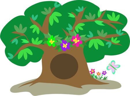 Large Tree with Leaves, Flowers, and Butterfly Illustration