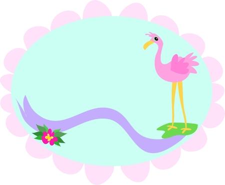 Flamingo Oval Frame Vector
