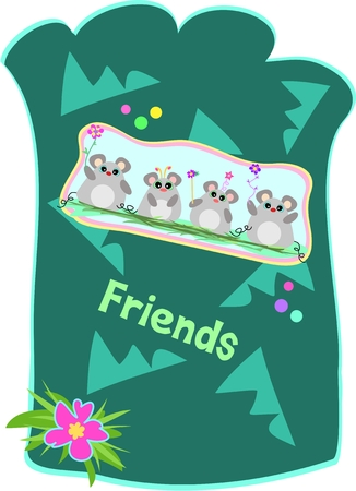 pouch: Mice Friends Pouch Illustration