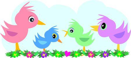 Vogels Vier op een rij Stock Illustratie