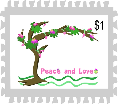 peace stamp: Postage Stamp of a Peace and Love Tree