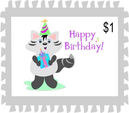 Postage Stamp of a Happy Birthday Raccoon Vector