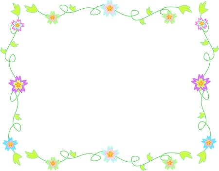 bordure vigne: Cadre de d�licates fleurs, de vignes et Feuilles