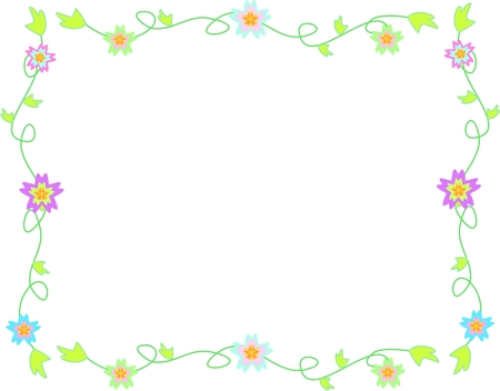 Delicate Frame of Flowers, Vines, and Leaves Illustration